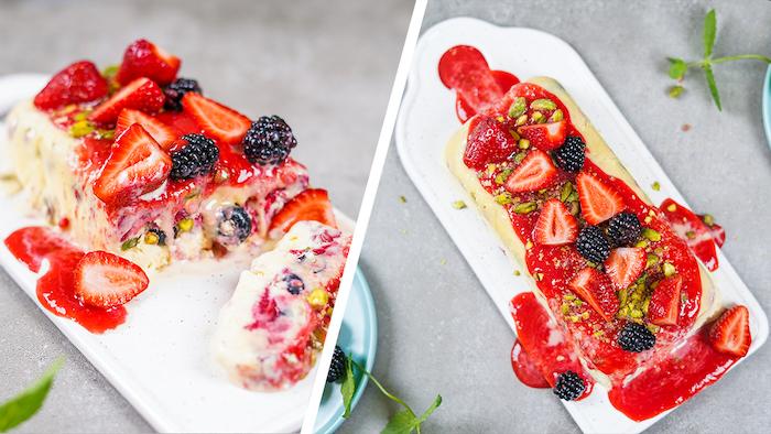 exemple dessert facile a faire et rapide nougat glacé maison aux pistaches fruits rouges et purée de framboises