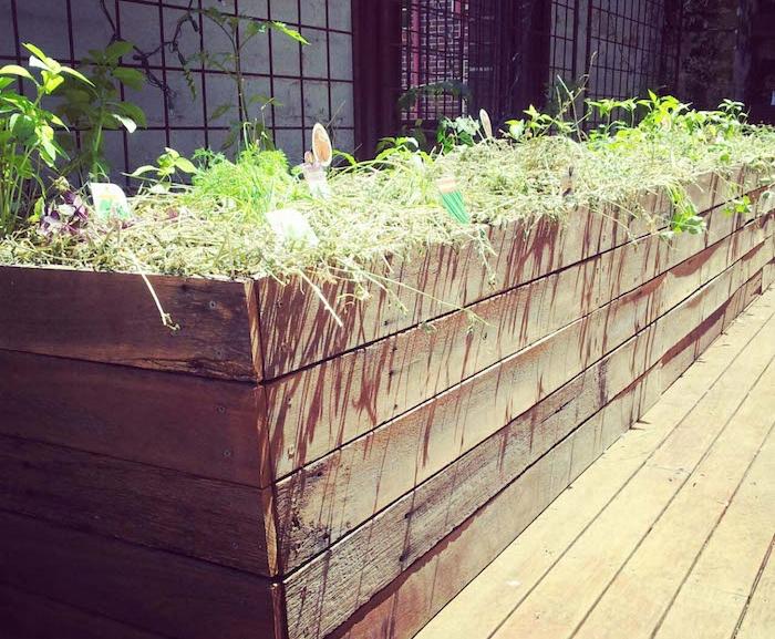 bac jardin bois rectangle pour jardiner debout