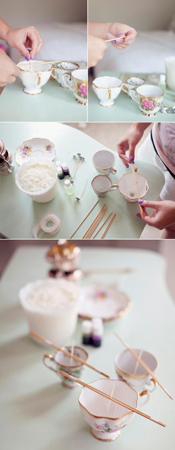 cadeau fête des mères à fabriquer, fixer la mèche des bougies diy avec des baguettes en bois, tutoriel pour fabriquer des bougies