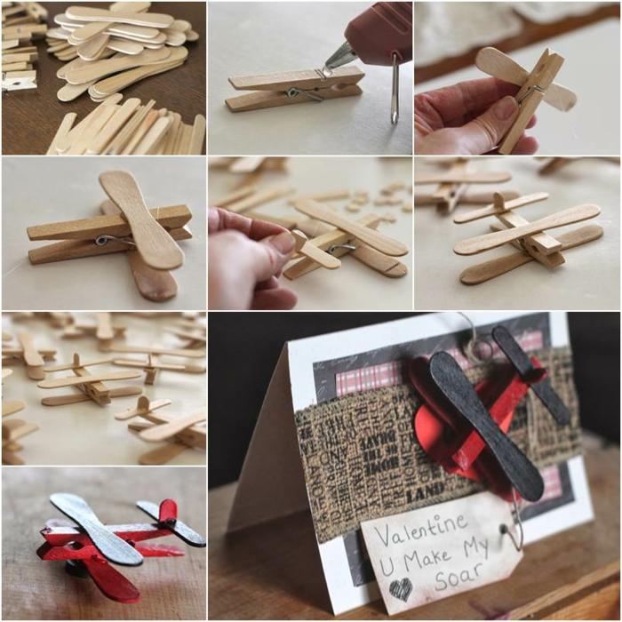 comment fabriquer un avion tout simple avec une pince à linge bois et des bâtonnets de glace