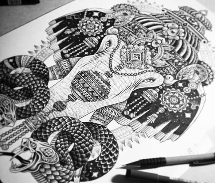 mandala à colorier, dessin éléphant, motifs animaux, dessin serpent, crayons, feuille blanche, mandala blanc et noir