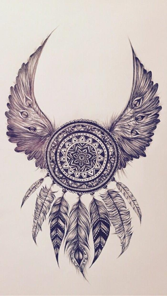 petit mandala, dessin attrape-rêve, ailes en plumes, mandala blanc et noir, papier blanc