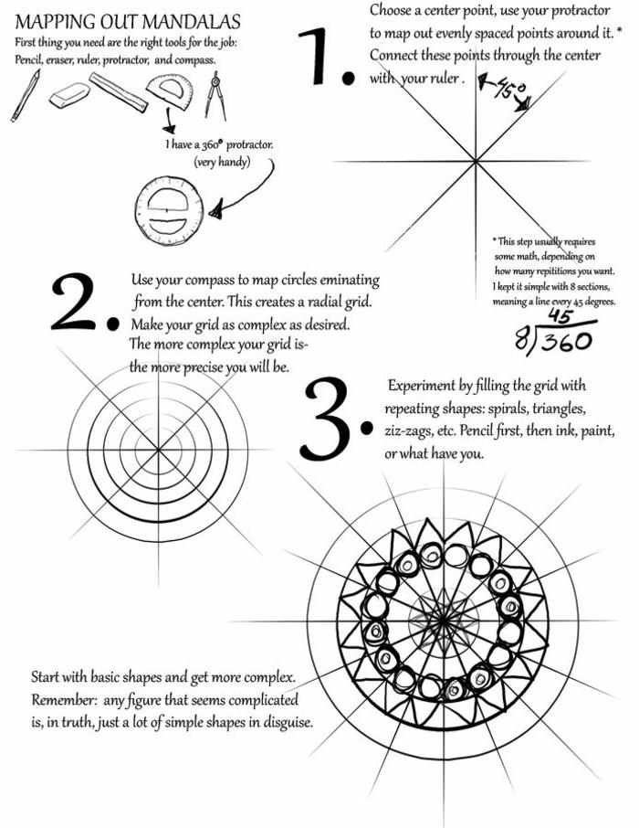 comment dessiner une rosace, étapes à suivre, mandala schème, crayon, gomme à effacer, faire un mandala