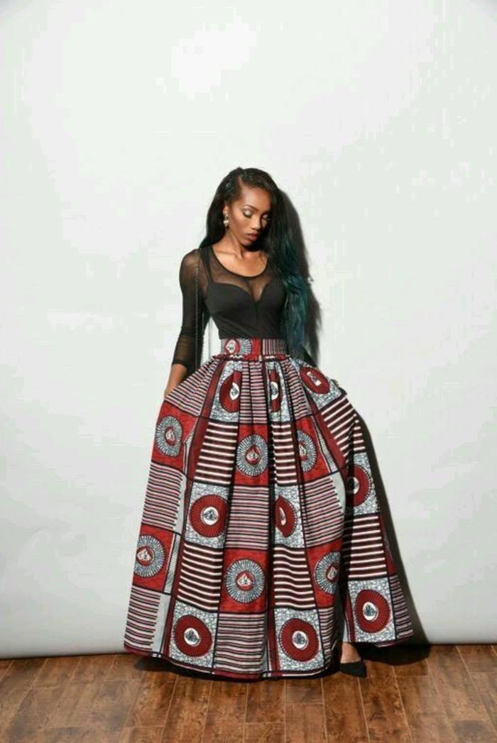 Africaine en pagne model de pagne africain jupe longue
