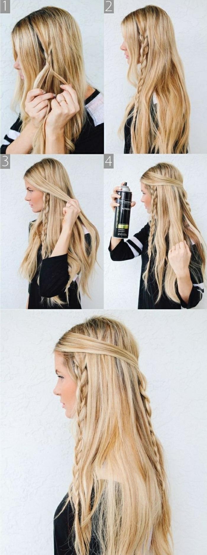 coiffure viking, tutoriel comment faire des tresses, cheveux blonds et raides, blouse noir et blanc