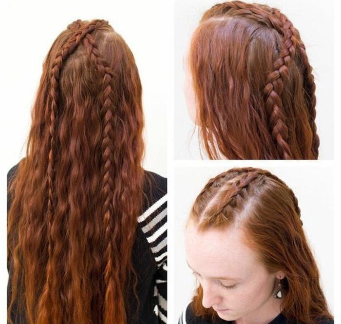 coiffure viking, cheveux longs et cuivrés, boucles avec nattes, tresses en diagonale