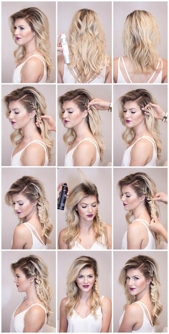 coiffure viking, spray fixateur, lèvres rouges, débardeur blanc, coiffure avec volume