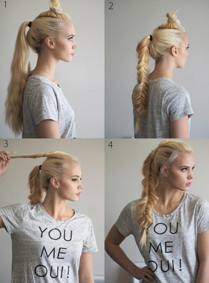 tresse viking, t-shirt gris avec citation, chignon, cheveux blonds, queue de cheval, tutoriel