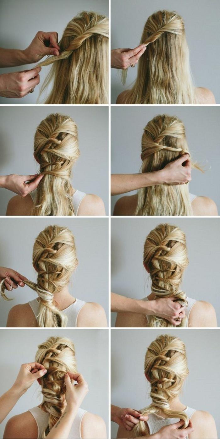 tresse viking, cheveux blonds avec mèches brunes, coiffure tresse, épingles de cheveux