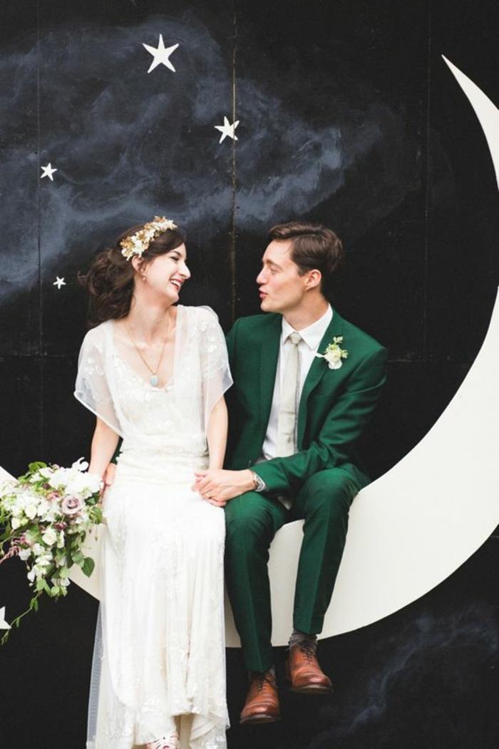 un fond photobooth étoilé pour une ambiance romantique et douce, décor de photobooth croissante de lune en papier