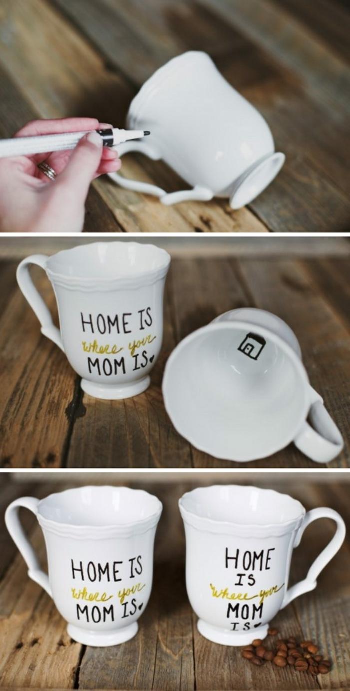 idee fete des meres, mug customisé au feutre noir et doré, message, cadeau à fabriquer soi meme facilement