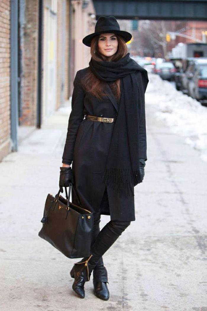 idée de style vestimentaire femme tout noir manteau jean slim