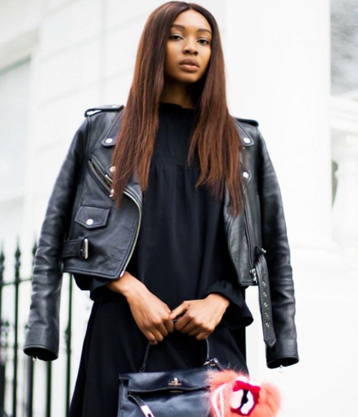 tenue classe femme tendance veste cuir