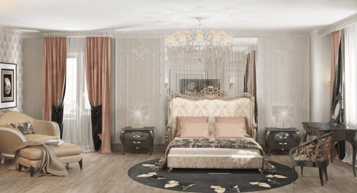 boudoir parisien, parquet en bois clair, chaise longue en beige, rideaux en rose pastel, tapis rond à papillons