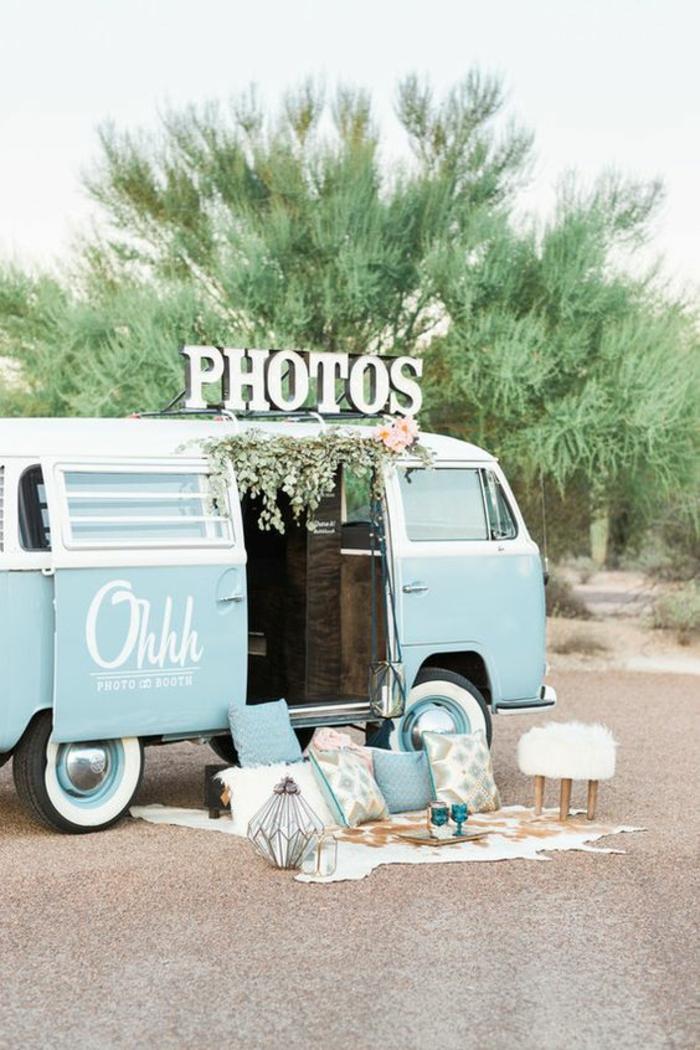 location photomathon pour votre mariage bohème, photobus vintage à louer