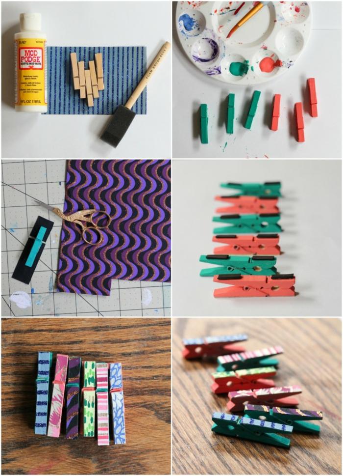 comment peindre des pinces à linge de façon originale, une pince à linge bois recyclé à motifs originaux différents