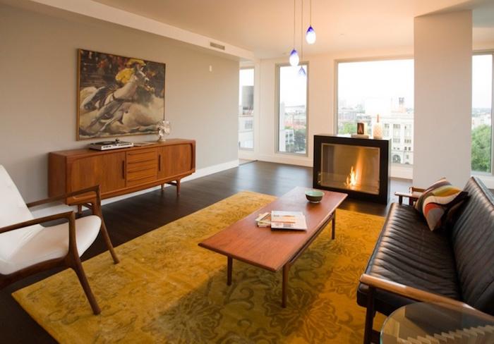 modèle de décoration de salon déco vintage séjour meubles anciens design