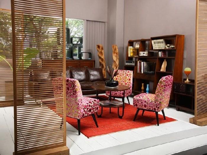 idee decoration salon style année 60 fauteuils recup