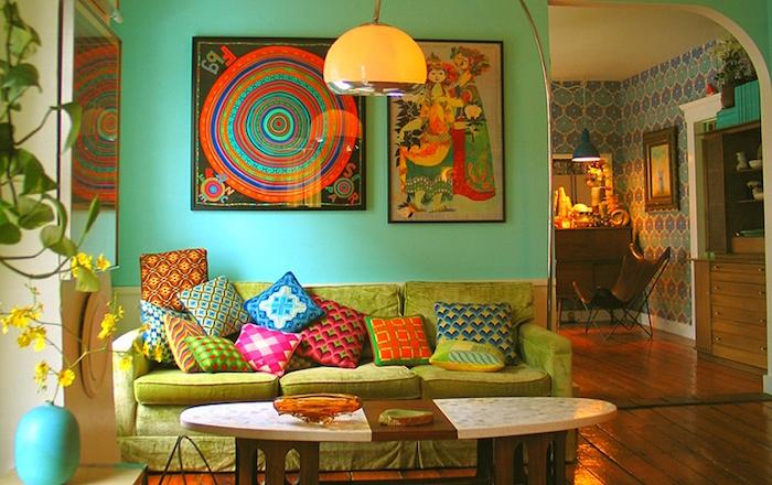 deco salon retro idee vintage décorations intérieur séjour