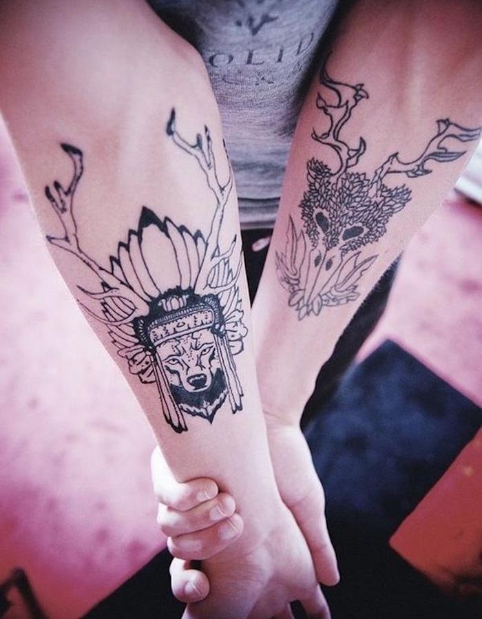 tete de mort tatouage avant bras homme tribal tete de cerf
