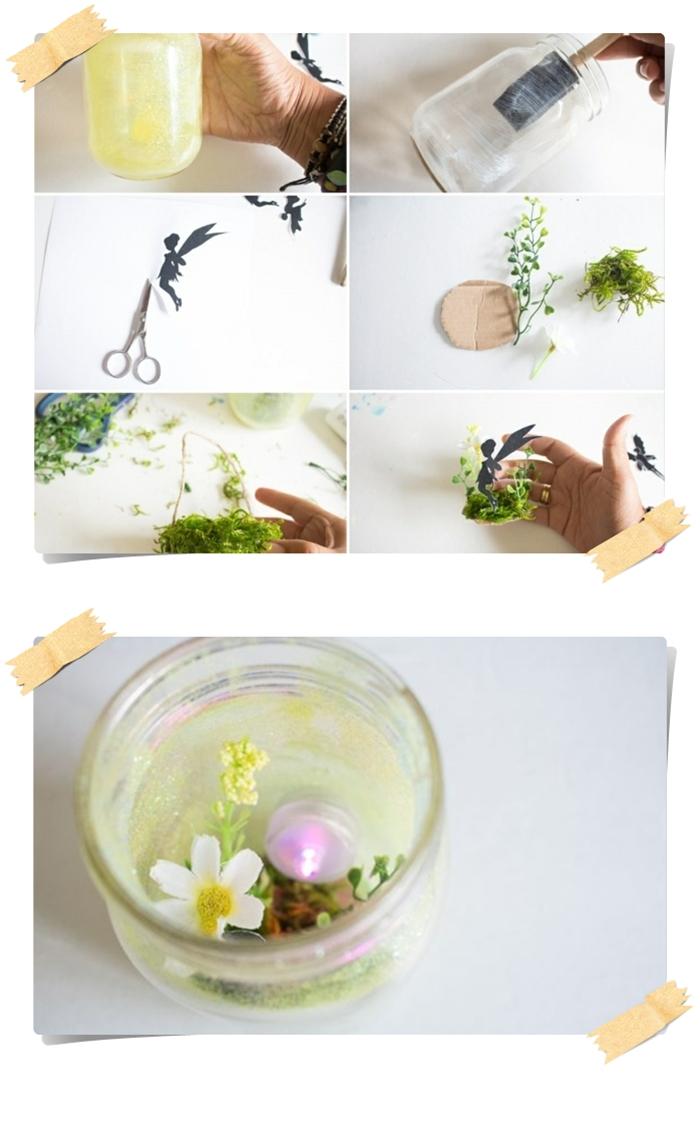 decoration de jardin a faire soi meme, paire de ciseaux, bocal en verre, verdure décorative, silhouette de fée en papier, bougie sans flamme