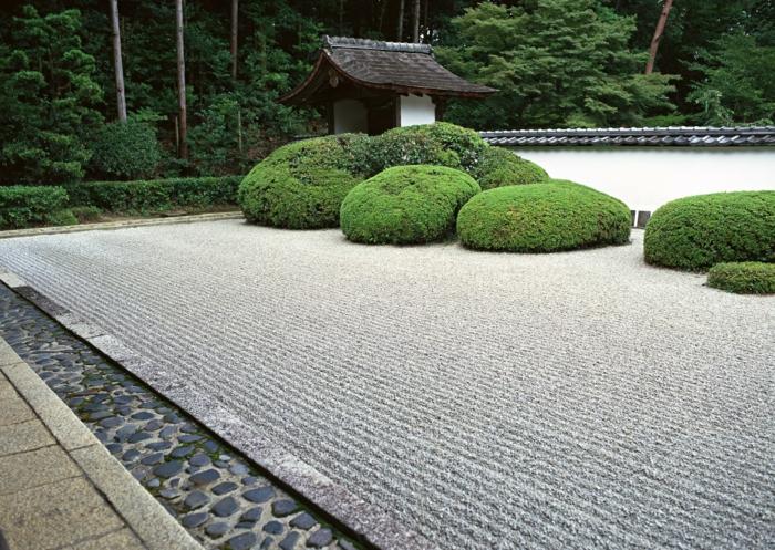 jardin zen japonais, couverture de sol en sable ratissé, broussailles vertes, bordure en pierre