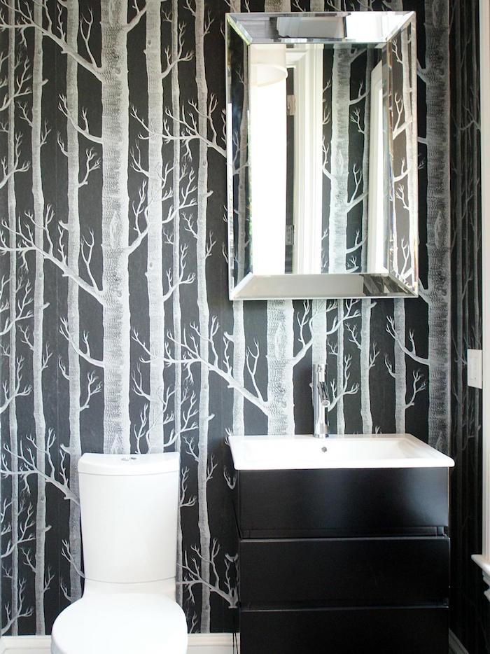 idée deco toilettes toilette tapisserie arbres