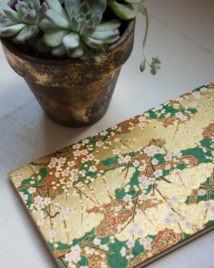 idee fete des meres, cadeau papier scrapbooking avec des chinoiseries, motifs rosiers, comemnt fabriquer un cadeau soi meme, journal intime