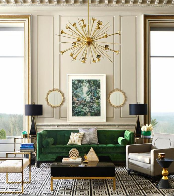 intérieur art déco, plafonnier doré, deux lampes de chevet, tables basses gigognes