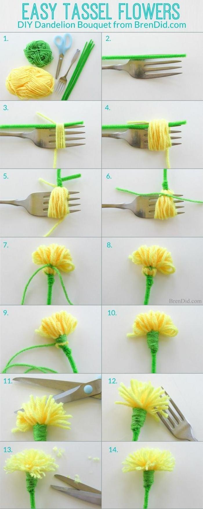 cadeau pour la fête des mères, fil jaune et nettoyeur de pipe transformés en fleur diy