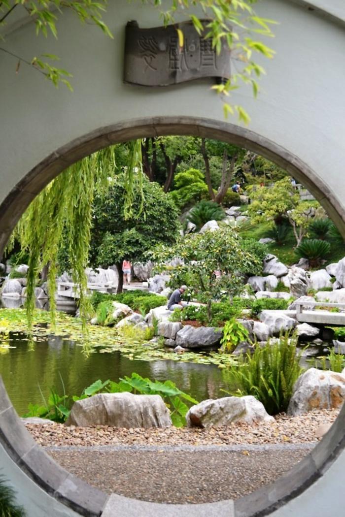 déco de jardin zen, rochers dans l'eau, broussailles vertes, bassin d'eau, mousse, idee deco jardin
