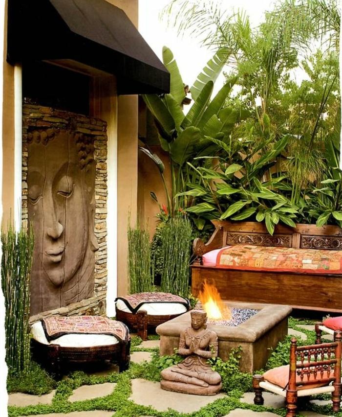 déco de jardin zen, tabourets ethniques, statue bouddha, feu, sculpture murale