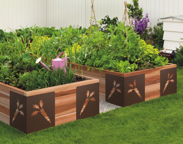 carré potager surélevé carré en bois décoré pour jardin