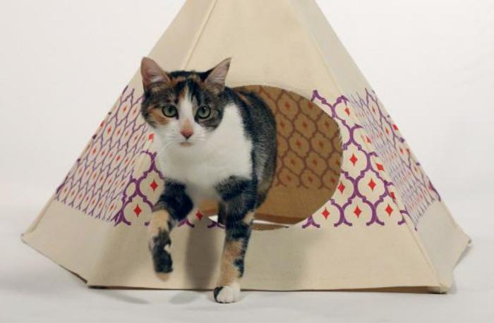 maison en carton pour chat, nicge triangulaire pour chat