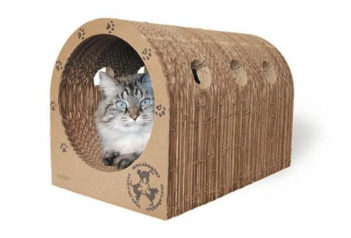 maisonette pour chat, tunnel de chat en carton, niche de chat