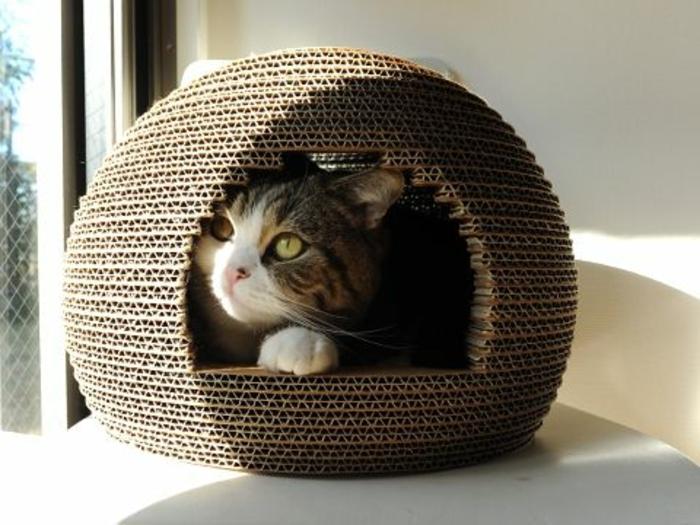 maisonette pour chat ronde créée avec plusieurs couches doubles de carton