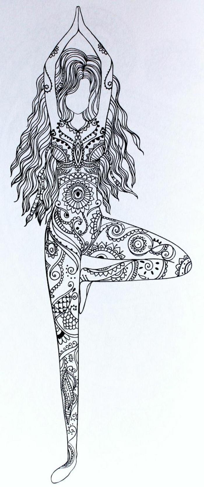 faire un mandala, fille danseuse, cheveux longs, dessin femme, tenue mandala, papier blanc