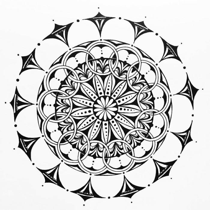 comment dessiner une rosace, dessin mandala blanc et noir, volutes, points