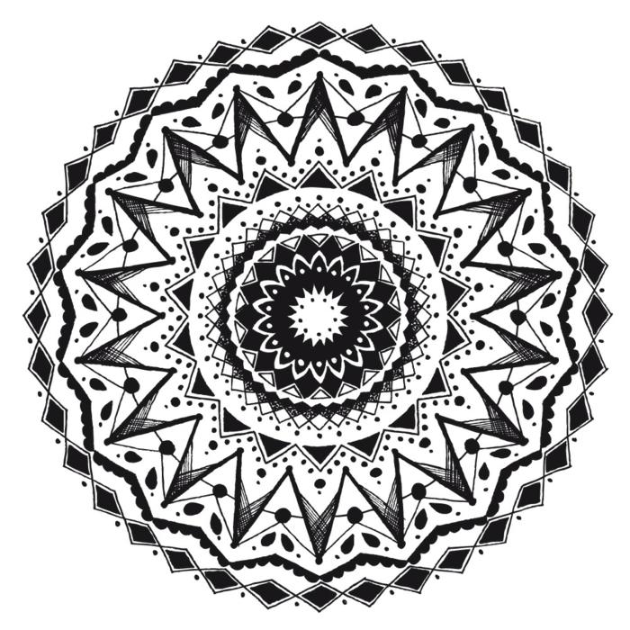 comment faire une rosace, mandala à colorier, dessin blanc et noir, motifs géométriques