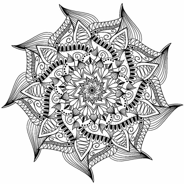 mandala à colorier, motifs floraux, dessin blanc et noir, papier blanc, coloriage de mandala