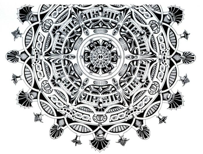 faire un mandala, feuille blanche, mandala blanc et noir, dessin abstract, volutes