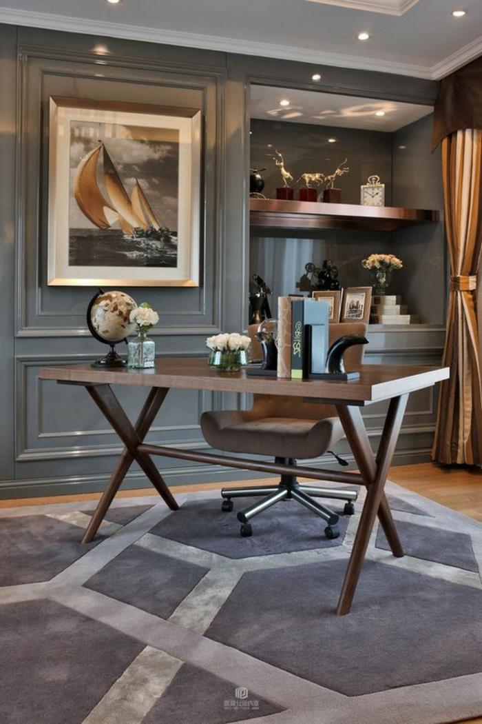 meuble art deco, bureau épuré, chaise pivotante, mur gris, tapis gris, rideaux marrons