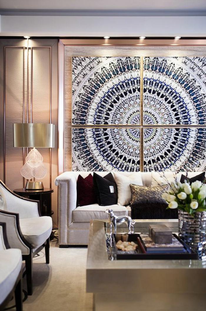 meubles art deco, table basse rectangulaire, sofa blanc, peinture mandala