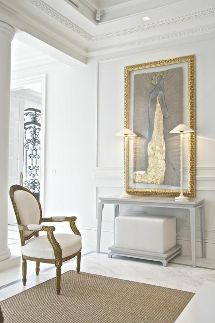 meubles art deco, console et peinture abstraiten chaise, deux lampes de table