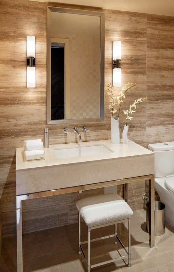 miroirs salle de bain lumineux avec deux appliques en verre et métal et lumière blanche