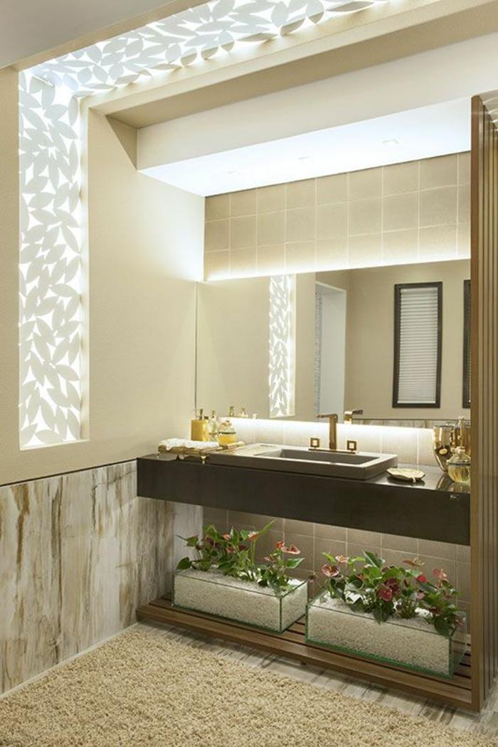 miroir lumineux de salle de bain effets fleurs plusieurs plans et dimensions pour aggrandir l'espace