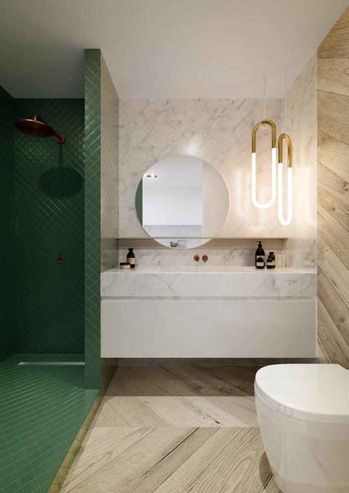 miroir de salle de bain lumineux rond avec partie douche en vert de style différent