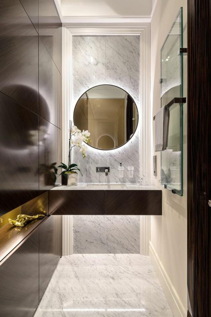 miroirs salle de bain lumineux pleine lune coin lavabo aux lueurs mystiques