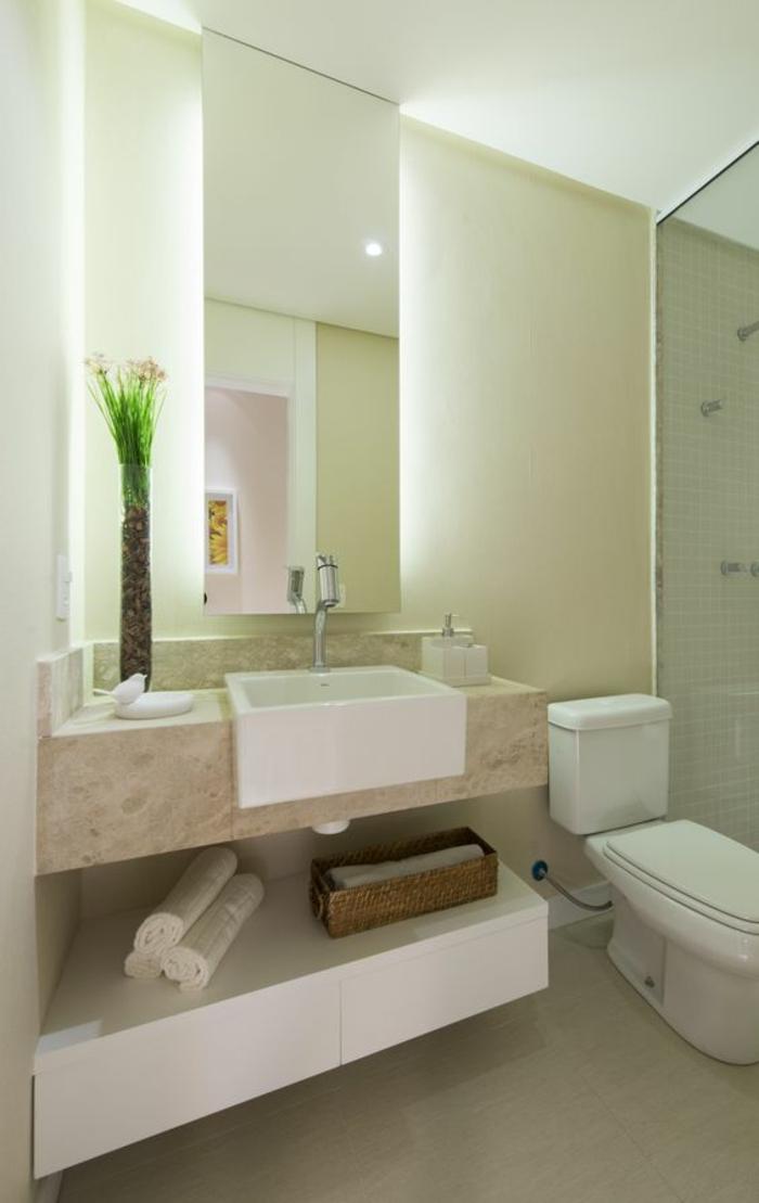 miroirs salle de bain lumineux illuminant le mur entier avec un vase haut en verre