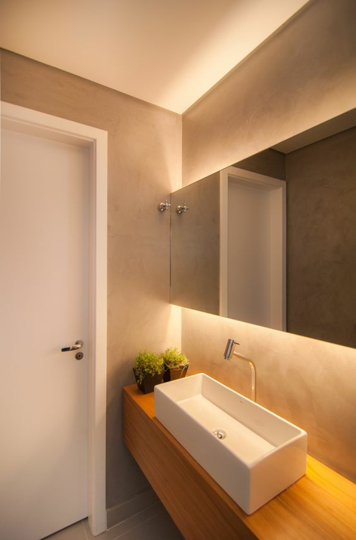 miroirs salle de bain lumineux rectangulaire avec lavabo vasque rectangulaire